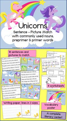 Your students will love learning to read with unicorns! Unicorn Sentence Picture Match is a complete literacy center for your kindergarten or first grade students, with hands on activities and follow up printables. Kid tested and approved! TpT $