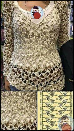 Crochet Stitches Patterns, Crochet Chart, Free Crochet, Knit Crochet, Crochet Jacket, Crochet Blouse, Crochet Poncho, Lace Shrug, Crochet Woman
