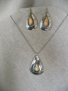 Elk Tooth Sterling Silver Necklace and Earring by EgyptianTails, $260.00