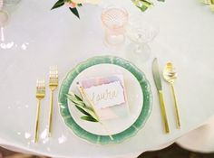 place setting - photo by Jessica Gold Photography http://ruffledblog.com/watercolor-garden-wedding-inspiration