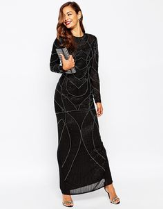 e07c4955e Image 1 of ASOS RED CARPET Delicate 20s Beaded Long Sleeve Maxi Dress  Beaded Evening Gowns