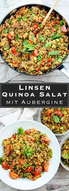 Linsen Quinoa Salat mit Aubergine und Tomaten Rezept, Vegan, Vegetarish, Low-Carb, LowFat