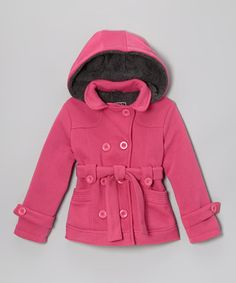 Fuchsia Fleece Double-Breasted Coat - Toddler & Girls