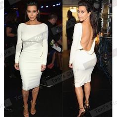 Nice-forever new Women Fitted Stylish Pinup Zipper Backless Sexy Long Sleeve Knee Length Solid Bodycon Pencil Dresses 704