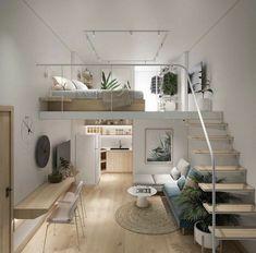 Room Design Bedroom, Home Room Design, Small House Design, Bedroom Decor, Bedroom Ideas, Tiny House Loft, Tiny House Living, Tiny Houses, Types Of Houses