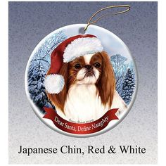 """- These holiday ornaments feature your favorite breeds in Santa hats. - They are made from Porcelain China and are approximately 3"""" around. - They are proudly made in the U.S.A."""