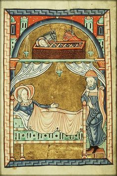 Fécamp Psalter  1180 I think both here are men, but it's sometimes hard to tell.  The hat is also worth noting.