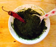 Green spinach pickle ( palak pickle) Kids friendly ,easy to do and tasty too!!! https://suphappyhome.wordpress.com/2015/03/12/kids-friendly-spinach-pickle/