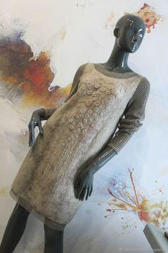 """Купить Платье """"Сaramel cream"""" - бежевый, платье коктейльное, платье валяное, платье на выход"""