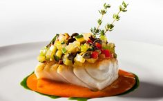 Roasted Hake Marinated Vegetables, and Aromatic Tomato Sauce by Jean-Georges Fish Recipes, Seafood Recipes, Gourmet Recipes, Cooking Recipes, Hake Recipes, Gourmet Desserts, Plated Desserts, Food Design, Pastries