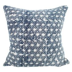 Stars In My Eyes Indigo. This beautiful star-like design was inspired by a tiny slither of fabric from an antique Japanese kimono, and then hand block printed with mud (Dabu) and 100% naturally dyed with indigo by a talented team of artisans in Bagru, Rajasthan.   Recreate the blue and white luxury of the Hamptons in your home with this deep indigo cushion.  Designed by Walter G Textiles www.walter-g.com.au #home #homeblockprint #design #pattern #lines