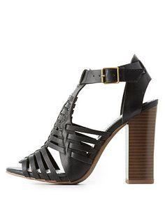 532a748c19f6 Chunky Heel Huarache Sandals  Charlotte Russe Walking In Heels