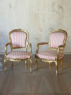 Antique Pair of Classic Louis XV Style Armchairs in Gold with Silk Upholstery. Love the Gold!