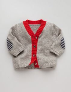 Love the red binding and striped elbow patches. Perhaps I could knit him something like this...