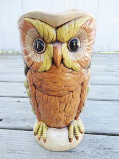 Vintage Large Ceramic Owl Pitcher  Pinned by www.myowlbarn.com