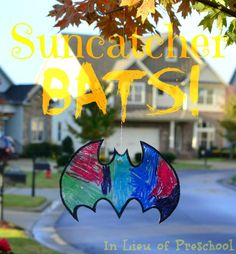 {Suncatcher BATS!!} Spookify your trees or windows for Halloween with this EASY craft!! [In Lieu of Preschool] #bats #Halloween #crafts #kids