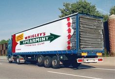 Truck wrap advertisement by Wringles Spearmint chewing gum. Advertising Awards, Creative Advertising, Mobile Advertising, Advertising Ideas, Commercial Ads, Commercial Vehicle, Vehicle Signage, Vehicle Branding, Trailers