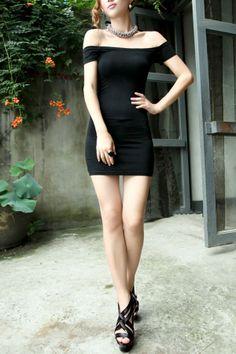Sexy Low Horizonal Neckline Short Sleeve Dress OASAP.com