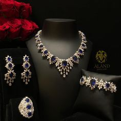 White Gold Over Pear & Oval Cut Blue Sapphire Wedding Diamond Jewelry Set Jewelry Box Store, Jewelry Tree, Jewelry Sets, Jewellery Box, Fashion Jewellery, Pakistani Jewelry, Indian Jewelry, Diamond Pendant Necklace, Diamond Jewelry