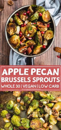 This Spiced Apples Roasted Brussels Sprouts recipe is an easy healthy side dish. It's Whole Paleo, vegan, keto friendly and loaded with nutrients! Easy Healthy Recipes, Paleo Recipes, Real Food Recipes, Healthy Meals, Roasted Apples, Spiced Apples, Healthy Side Dishes, Side Dish Recipes, Vegan Brussel Sprout Recipes