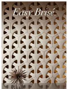 New Ann Sacks Ogassian Brise Taking it's cue from modern and midcentury cinder block screens. Pvc Wall Panels, 3d Panels, Wall Tiles Design, Door Design, Breeze Block Wall, Jaali Design, Concrete Wood, 3d Wall Art, Faux Stone