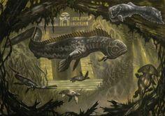 Piranhadon(king kong) by on DeviantArt Alien Creatures, Magical Creatures, Fantasy Creatures, Beautiful Creatures, Prehistoric World, Prehistoric Creatures, Monster Concept Art, Monster Art, Creature Concept Art