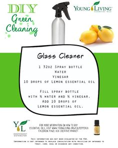 Glass Cleaner Recipe.  To order essential oils, visit my website www.youngliving.org/culpepperck