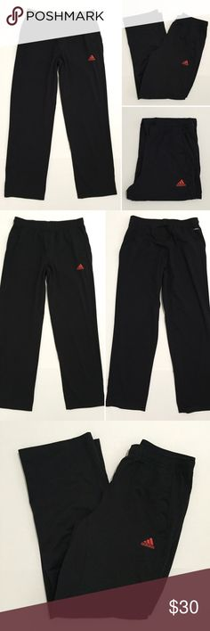 """[Adidas] men's black athletic track/jogger pant M [Adidas] men's black athletic track/jogger pant M •🆕listing •great pre-owned condition •black with red logo (no wear/cracking/fading) •elastic drawstring waistband, 2 front pockets •length/inseam 32.5"""" •material 89% polyester 11% spandex, very soft and comfortable •offers and bundles welcomed using the features Adidas Pants Sweatpants & Joggers"""