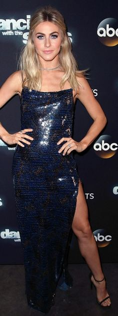 Who made Julianne Hough's blue sequin dress and black sandals?