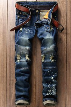 $26.07 Scratched Zippered Pocket Rivet Paneled Ripped Jeans