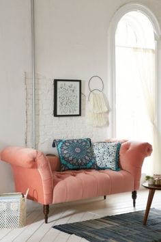 Love this style of couch, and the color too    Antoinette Fainting Sofa - Coral