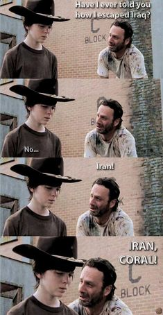 The Walking Dead funny meme Walking Dad Jokes, Walking Dead Funny Meme, Walking Dead Quotes, Fear The Walking Dead, Twd Memes, Funny Memes, Hilarious, Walking Dead Coral, Rick And Carl