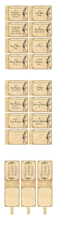 Gift Printable Naughty Coupons Booklet Erotic by VectoriaDesigns