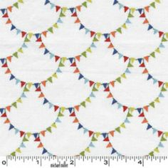Mini Mike's Retro Tiny Bunting Scallop Flag Garland by Michael Miller Fabrics - 1 yard Tissu Michael Miller, Michael Miller Fabric, Make Bunting, Fabric Bunting, Buntings, Flag Garland, Cotton Blossom, Elephant Pillow, Miller Homes