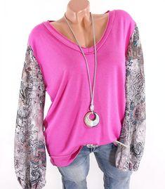 Italy Glitzer Pailletten Pullover Shirt Top Tunika Pulli*Bordeaux* M-XL-38 40 42