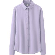 UNIQLO Silk Touch Long Sleeve Blouse featuring polyvore, women's fashion, clothing, tops, blouses, shirts, uniqlo, light purple, long sleeve blouse, purple long sleeve shirt, long-sleeve shirt, light purple shirt and long sleeve silk blouse