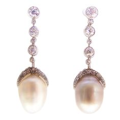 From Blog Post: Edwardian Black & White Natural Oriental Pearl Earrings, mounted in platinum, circa 1915 (Price upon request at www.sandracronan.com)
