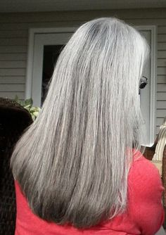 Long silver gray hair. White hair. Grey hair. Granny hair. No dye. Dye free. Aging and going gray gracefully.