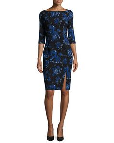 $345 3/4-Sleeve Floral-Print Sheath Dress by Black Halo at Neiman Marcus.