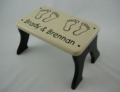 Personalized Footprints Step Stool, Wooden, Wood, Feet, Black, Beige, Children…