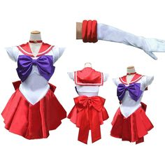 Sailor Moon Costume Serena Cosplay Anime Uniform Fancy Dress Up Outfit Gloves Sailor Mars Costume, Sailor Halloween Costumes, Sailor Mars Cosplay, Moon Costume, Halloween Party, Girl Halloween, Halloween Cosplay, Halloween Ideas, Anime Cosplay Costumes