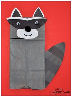 How to make a Paper Bag Raccoon Puppet