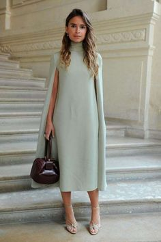 Miroslava Duma wearing a Valentino dress from the Fall/Winter Collection to the Valentino Haute Couture Fall/Winter 2016 - 2017 Fashion Show on July Mother of the bride dress Fashion Mode, Modest Fashion, Womens Fashion, Fashion Trends, Dress Fashion, Fashion Ideas, Cape Dress, Dress Up, Mint Dress