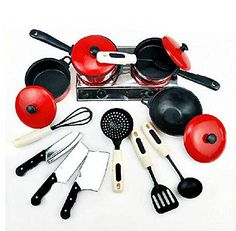 happustore 1Set Kids Play House Toy Kitchen Utensils Pots Cooking Food Dishes Fun Cookware -- Click image to review more details.Note:It is affiliate link to Amazon.