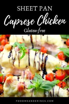 5 reviews · 30 minutes · Gluten free · Serves 4 · Caprese Sheet Pan Chicken Breast Dinner (gluten-free) was inspired by my fave Caprese Salad Skewer appetizer. It's a quick 5 ingredient chicken dinner with basil, grape tomatoes, mozzarella cheese and… More Baked Caprese Chicken, Baked Chicken Breast, Healthy Dessert Recipes, Healthy Chicken Recipes, Dinner Recipes, 30 Minute Meals, Quick Meals, Food For A Crowd, Grow Hair
