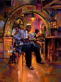 Dobro Blues by Tommy G. Thompson ~ New Orleans art Rock Poster, Jazz Poster, African American Art, African Art, Jazz Painting, Art Du Monde, New Orleans Art, Jazz Art, Black Love Art