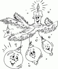ornaments and candle on branch coloring page Christmas Templates, Christmas Printables, Christmas Colors, Christmas Art, Vintage Embroidery, Embroidery Patterns, Hand Embroidery, Christmas Coloring Sheets, Illustration Noel