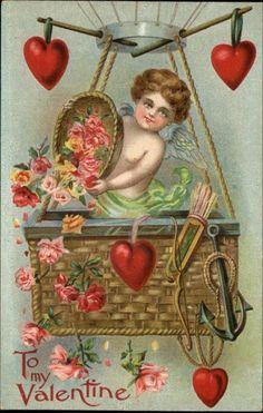Cupid In  A Hot Air Balloon.  Vintage Valentine Card.  suzilove.com