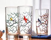 Seasonal Bird Glasses - 4 Everyday Glasses, Water Glasses, The Four Seasons, Bird Glasses, Cardinal, Bluebird, Finch, Hummingbird Glass