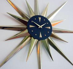 VINTAGE ARABESQUE WELBY WALL CLOCK MCM Mid-Century Modern Atomic Starburst